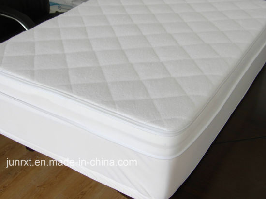 Terry Cloth Filled with Fiber Fitted Mattress Protector Waterproof Mattress Cover