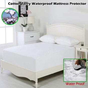 Noiseless and Soft Cotton Terry-Fitted Style Mattress Protector